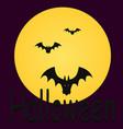 halloween bat on purple sky backgrounds silhouette vector image