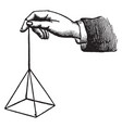 hand and pyramid vintage engraving vector image vector image