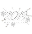 happy new year 2019 silver numbers with ribbons vector image vector image