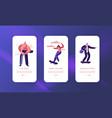 hipster character skate skateboard mobile app page vector image vector image