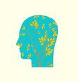 human head in profile with branches young tree vector image