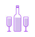 icon wine bottle with two wineglass vector image vector image