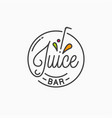 juice bar logo round linear logo juice splash vector image