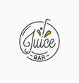 juice bar logo round linear logo juice splash vector image vector image