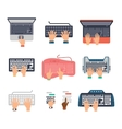 keyboard hands set vector image vector image