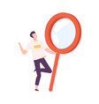 man with big magnifying glass searching for vector image