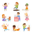 naughty and obedient kids set children with good vector image vector image