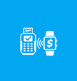 payment with pos terminal and smart watch icon vector image