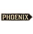 phoenix vintage rusty metal sign vector image vector image