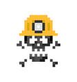 pixel art sign miner skull with helmet - isolated vector image vector image