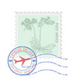 postal stamp with flower and blue round postmark vector image vector image