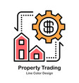 property trading line color icon vector image