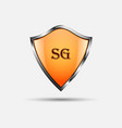 protect orange shield on white background vector image vector image