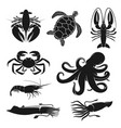 seafood octopus turtle shrimp and crustaceans vector image