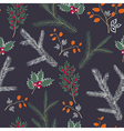 Seamless pattern floral branches winter christmas vector image