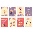 set colored card positive body woman motivation vector image vector image