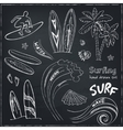 set doodle sketch surfing sport icons vector image vector image