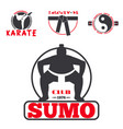 set of cool fighting club emblems labels fight vector image