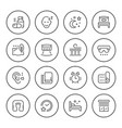 Set round line icons of sleep