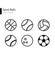 sports balls minimal flat line icon set vector image