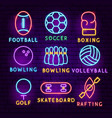 sports neon label set vector image