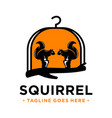 squirrel basket house logo design template vector image