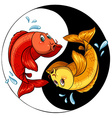 Template of two fishes vector image