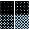 tile pattern set with blue polka dots on black vector image vector image