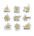 Tobacco logo design set emblems can be used for