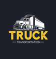 truck logo transportation monochrome style vector image vector image