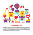 valentines day banner with love icons in flat vector image vector image
