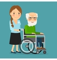 Volunteer pushing wheelchair with disabled old man vector image