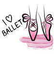 watercolor pointe shoes with ribbon bow hand vector image