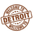 welcome to detroit brown round vintage stamp vector image vector image