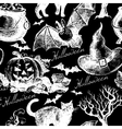 Sketch Halloween seamless pattern vector image