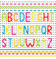 embroidered alphabet and borders vector image