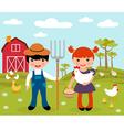 Farmers at farm vector image