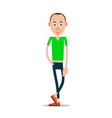 man stands and holding hand in trouser pocket vector image