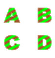 a b c d letters of brown and green colors simple vector image
