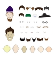 A set of parts of the human face and hats on an vector image vector image