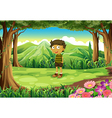 A stubborn child at the forest vector image vector image