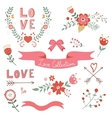 Beautiful love elements collection vector image