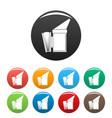 bee smoker icons set color vector image