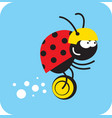 beetle rides quickly on a unicycle vector image vector image