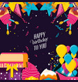 birthday with gift box and set icons vector image vector image