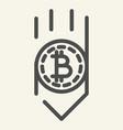 bitcoin down arrow line icon fall bitcoin vector image