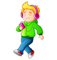 cartoon boy walking and listening music player vector image
