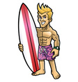 Cartoon of surfer pose with the surfboard vector image