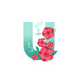 color letter u with beautiful flowers vector image vector image
