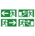 emergency exit safety sign white running man icon vector image